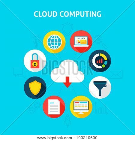 Concept Cloud Computing. Vector Illustration of Big Data Infographics Circle with Flat Icons.