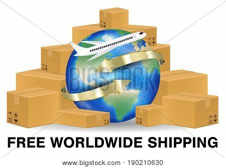 brown package box with airplane shipping around the world
