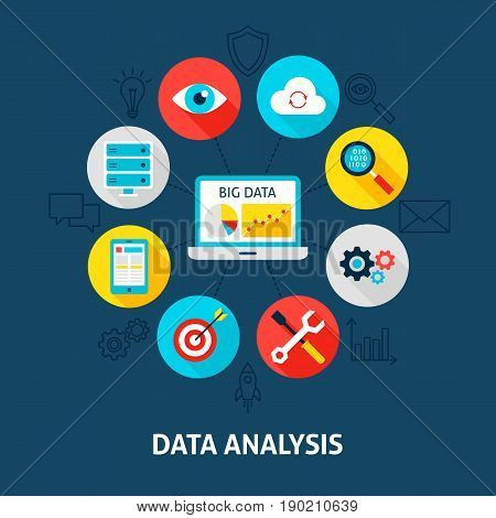 Concept Database Analysis. Vector Illustration of Big Data Infographics Circle with Flat Icons.