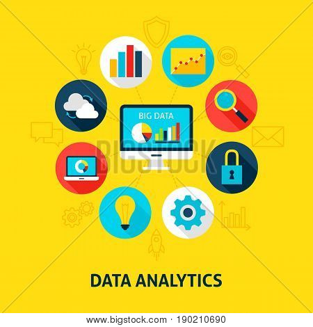 Concept Database Analytics. Vector Illustration of Big Data Infographics Circle with Flat Icons.