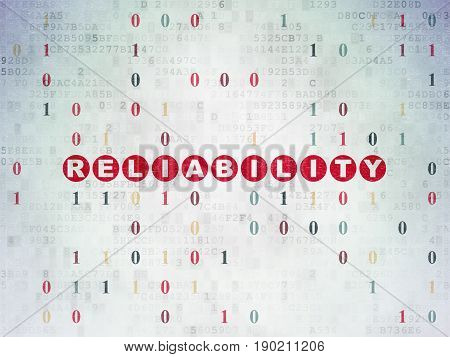 Business concept: Painted red text Reliability on Digital Data Paper background with Binary Code