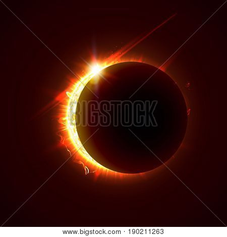 New sun eclipse vector illustration, 3d bright sunny summer day. Half of the sun realistic picture