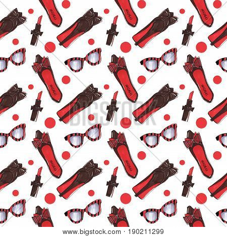 Fashion background with red shoes and glasses and lipsticks