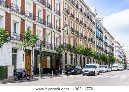 MADRID, SPAIN - April 20, 2017: street view of downtown madrid, The city has a population of almost 3.2 million