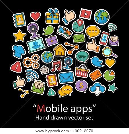 Mobile Apps.Scrapbook.Fashion patch badges collection.Vector Technology Apps hand draw set on a background.Pins, stickers, patches in doddle style.Trend.Vector illustration isolated.Vector clip art.
