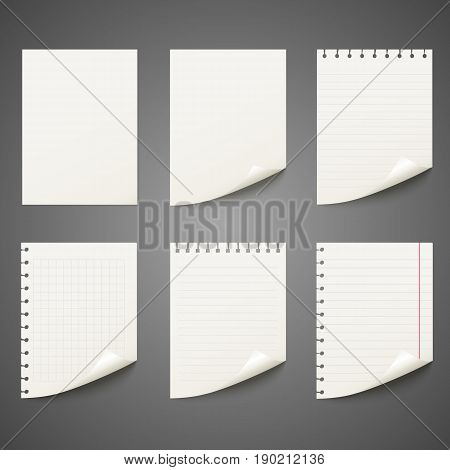 Notepad sheet set in a cage, in a line, the tear, wrapped.Realistic template