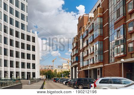 MOSCOW/ RUSSIA - JULY 16, 2015. Modern office building and residential house Aquamarine in Moscow, Russia.