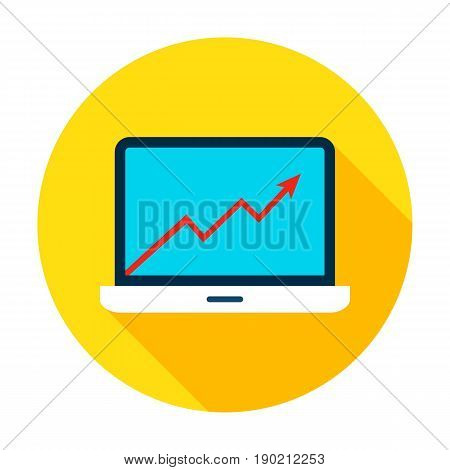 Laptop Growth Graph Icon. Vector Illustration Flat Style Circle Item with Long Shadow. Data Analysis.