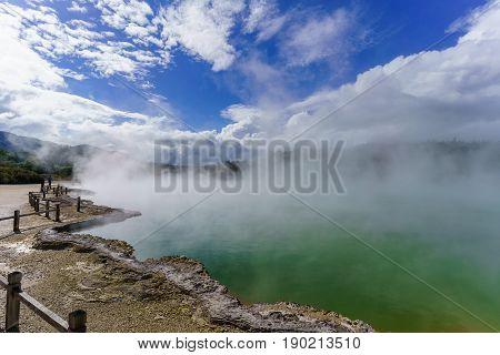 The famous Champagne Pool Wai-O-Tapu geothermal area Rotorua North Island of New Zealand