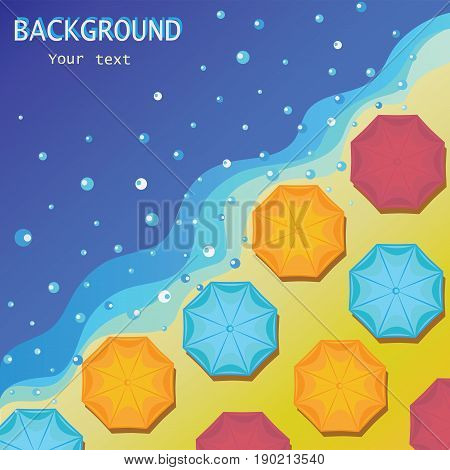 Sea shore and beach umbrellas. .Blue and yellow background of sea and sand in summer with the sea spray. Banner design, poster with beach umbrellas.