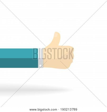 Thumb up finger icon with shadow isolated on a white background.Vector cartoon flat style illustration.Ok, excellent, great, things go uphill, growth up, everything is good, better