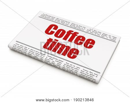 Time concept: newspaper headline Coffee Time on White background, 3D rendering
