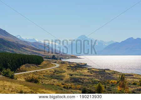 Beautiful scenery of Lake Pukaki at Peter's lookout Mount Cook Road South Island of New Zealand