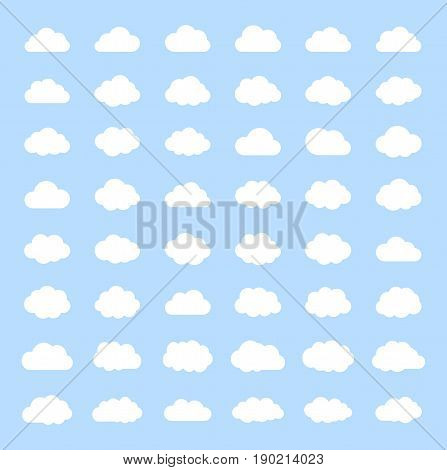 Big vector set white cloud shapes, cloud icons , cloud computing, Cloud on a blue sky.Good weather forecast.Flat style vector illustration.