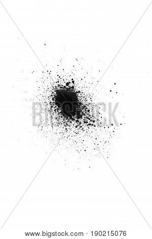 Black color spray paint on a white background paper