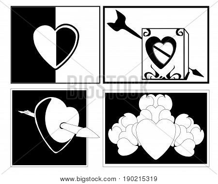 Image of hearts in black and white style. One heart is divided into two halves, the second heart is cut in the form of a hole in the cube, the third heart is pierced by an arrow.