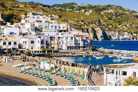 Beach with umbrellas, Italy San angelo, on Ischia, island in bay of Naples, italy