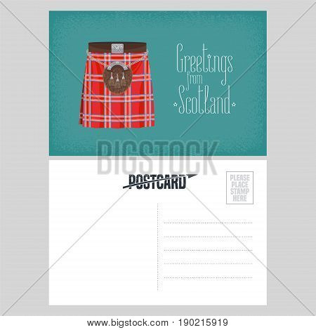 Postcard with Scottish traditional skirt kilt vector illustration. Template double-sided blank with greetings from Scotland