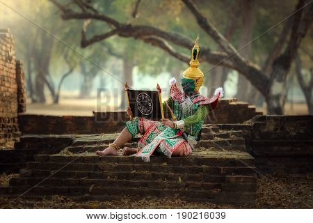 KHON THAILAND The charecter in Ramayana Story of the best Thai dace traditional charecter of Thailand.