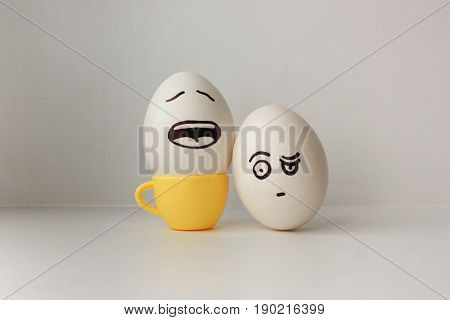 Eggs With Painted Face. Photo For Your Design