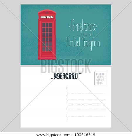 Postcard from Great Britain vector illustration with red phone booth. British symbol design element in template double sided greeting card