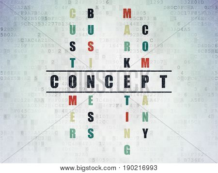 Advertising concept: Painted black word Concept in solving Crossword Puzzle on Digital Data Paper background
