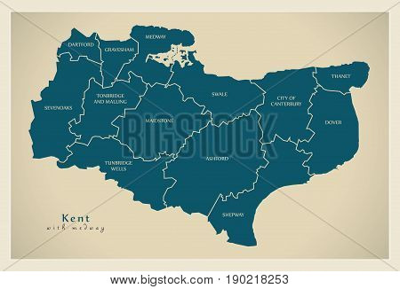 Modern Map - Kent County With Labels Including Medway Uk Illustration