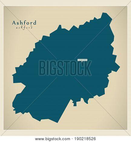 Modern Map - Ashford District Uk Illustration
