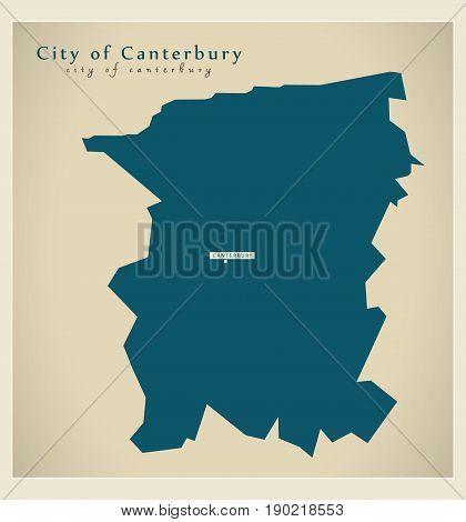 Modern Map - City Of Canterbury District Uk Illustration
