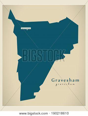 Modern Map - Gravesham District Uk Illustration