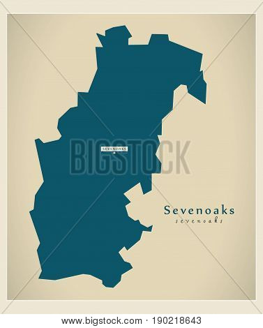 Modern Map - Sevenoaks District Uk Illustration