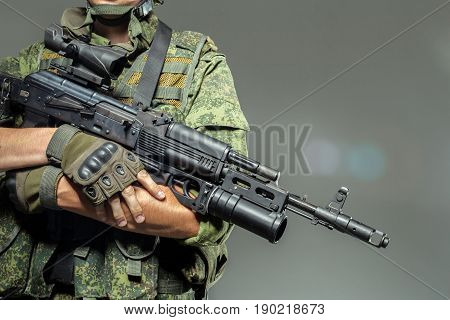 Russian soldier . close up . special force