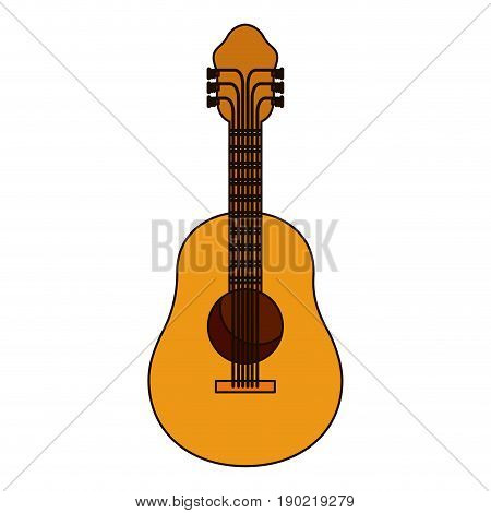 white background with acoustic guitar with thick contour vector illustration