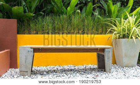 natural buil mini gardening and stoolwood on stone