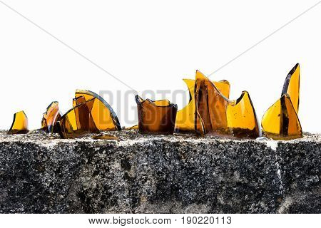 build broken bottles on wall anti thief background white color