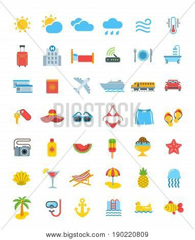 Summer travel icons. Vector flat symbols of sea vacation elements. Weather pictograms, transport for traveling, hotel services, relaxing at water, tropical fruits, beach holidays and swimming suits