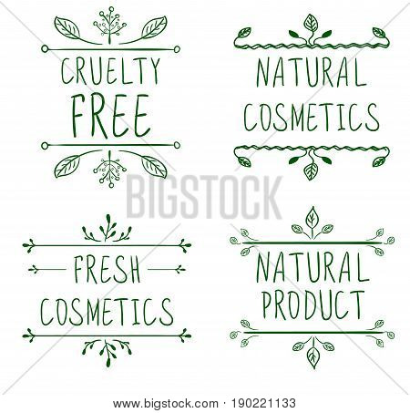 Cruelty free, natural cosmetics, natural product, fresh cosmetics. Flourish vignettes and handwritten letters. VECTOR. Green lines, isolated on white