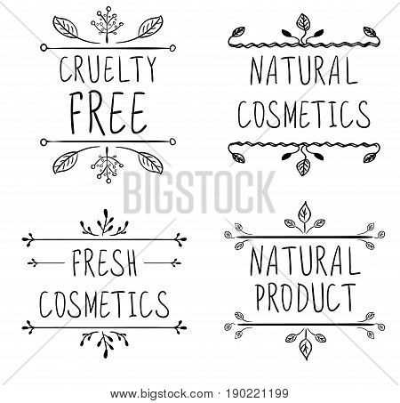 Cruelty free, natural cosmetics, natural product, fresh cosmetics. Flourish vignettes and handwritten letters. VECTOR. Black lines, isolated on white