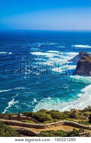 Cape on the Cape Peninsula south of Cape Town, South Africa in the Atlantic Ocean. Cape of Good Hope. The most extreme south-western point of Africa