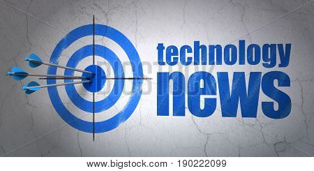 Success news concept: arrows hitting the center of target, Blue Technology News on wall background, 3D rendering