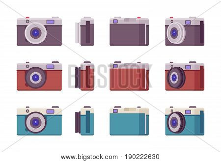 Photo camera set in different colors and positions, equipment for a summer trip, adventures to capture glorious shots and pictures. Vector flat style cartoon illustration, isolated, white background