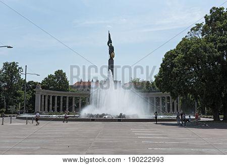 VIENNA, AUSTRIA-JUNE 01, 2017: Soviet War Memorial and Fountain in Vienna, Austria