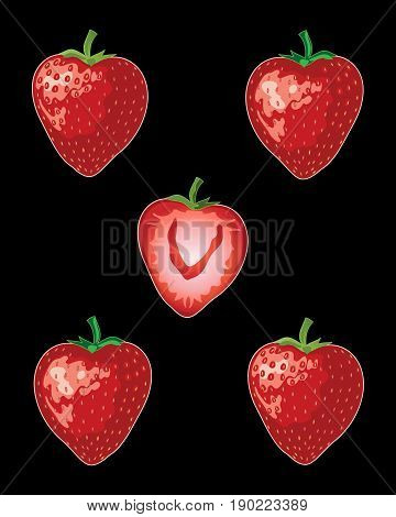 an illustration of ripe red strawberries with green stalks whole and half on a black background