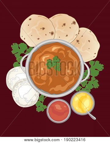 an illustration of a chicken tikka masala with indian breads and sauces on a dark red background