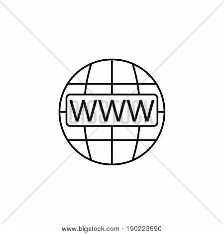 Www and globe internet line icon, Website browser, vector graphics, a linear pattern on a white background, eps 10.