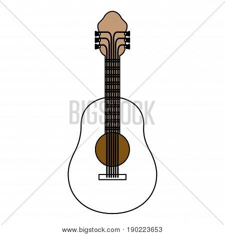 color sections silhouette of acoustic guitar with thick contour vector illustration