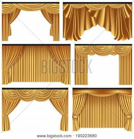 Set of gold luxury curtains and draperies on white background realistic vector illustration