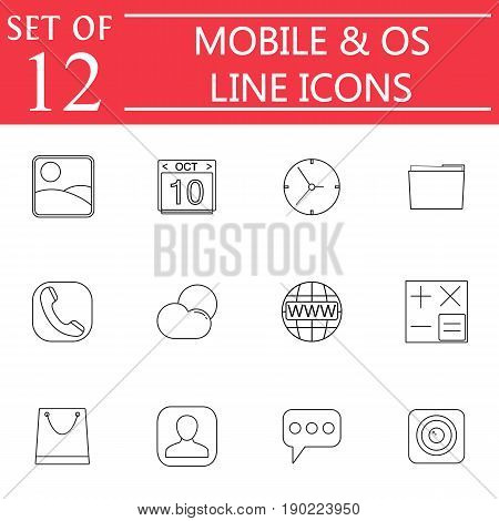 Mobile and OS line icon set, symbols collection, vector sketches, system interface and applications logo illustrations, linear signs isolated on white background, eps 10.