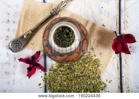 Traditional yerba mate tea popular in latin america. Top view
