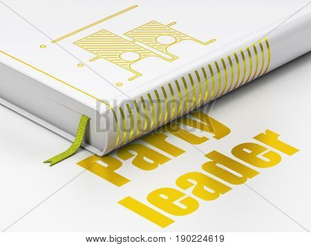 Political concept: closed book with Gold Election icon and text Party Leader on floor, white background, 3D rendering